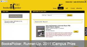 BooksPicker, 2011 iCampus Prize Runner Up